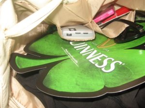 Stolen by me: Large shamrock Guiness poster from the window.